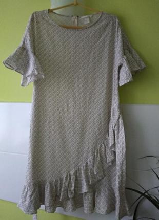 Платье с воланами из 100% котона