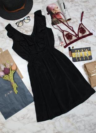 Обнова! платье мини а-силуэт декольте с рюшами h&m
