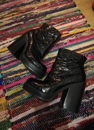 Ботинки женские ботинки на толстом каблуке ботинки змеиные кожаные ботинки river island