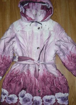 Пальто куртка зимняя 134р. bolaihidon шапка в подарок