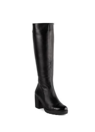 755цп женские сапоги el passo,кожаные,на каблуке,на толстой подошве,на высоком каблуке
