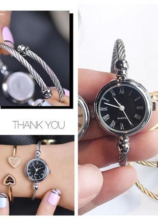 Новые изящные аккуратные часы браслет металл фото вживую