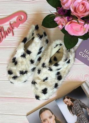 Домашние теплые меховые пушистые лохматые новые тапочки звериный принт высокие носки