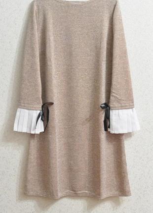 Стильное платье свободного кроя с плиссировкой на руках, разные размеры!