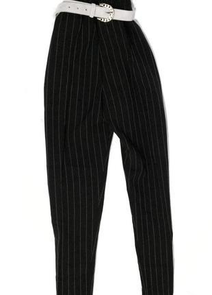 Чёрные брюки в полоску с высокой талией, 38