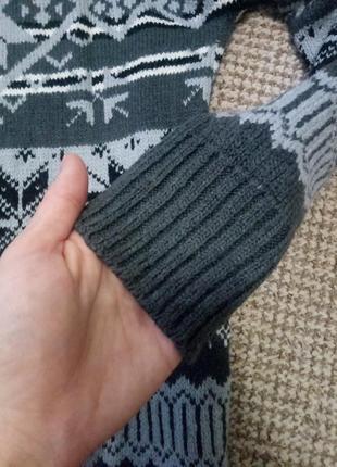 Теплая туника, s/m, длинная теплая кофта в зимний принт