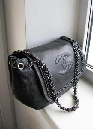 Кожаная сумка chanel black accordion flap modern chain silver hardware