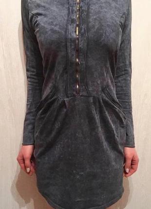 Платье туника деним мини джинсовое на молнии с карманами