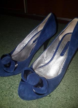 Туфли синий замш