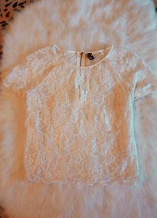 Белая ажурная короткая блуза с рукавами c кроп топ гипюр ажур h&m нарядная под юбку
