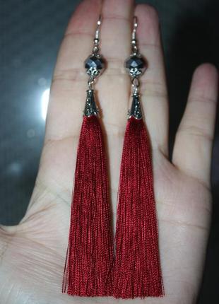 Серьги серёжки кисти кисточки вишнёвые красные с хрустальными бусинами