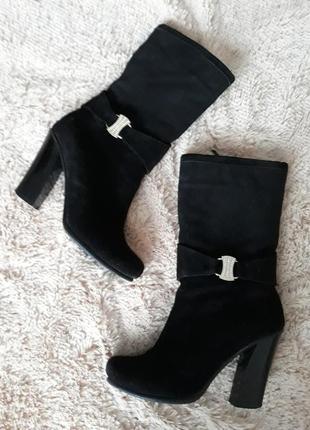 Замшевые сапоги / сапоги на каблуке/ зимние сапоги