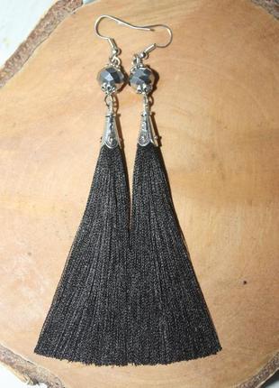 Серьги серёжки кисти кисточки чёрные с хрустальными бусинами