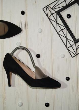 (35/23см) stefano lauran! paris! замша/кожа! красивые туфли лодочки на устойчивом каблучке