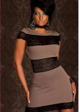 Нарядное кофейное платье мини с черным гипюром ажурные вставки полосы