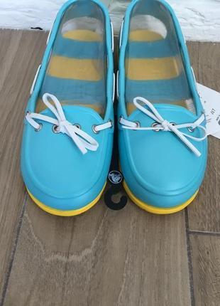 Топсайдеры крокс crocs beach line boat shoe women aqua/yellow
