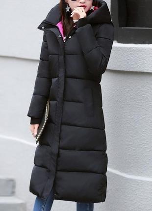 Черная зимняя длинная приталенная парка, длинное пальто с розовым подкладом, 52 р.