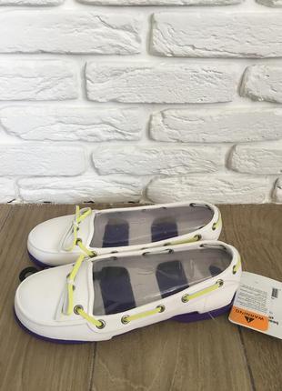 Топсайдеры крокс crocs beach line boat shoe women oyster/ultraviolet