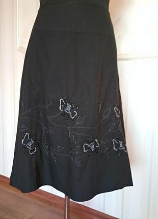 Нарядная котоновая юбка  с вышивкой, размер 46-48.