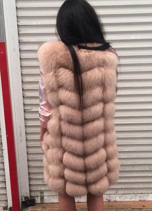 Жилет 90 см пудра натуральный мех песец