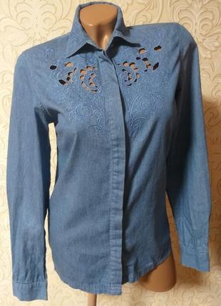 Красивейшая джинсовая хлопковая рубашка miss selfridge  uk 6-8 наш 40-42