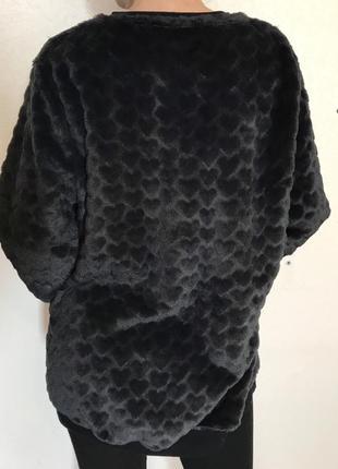 Крутой свитер george удлиненный черный в сердечках теплый
