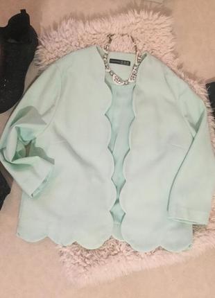 Роскошный пиджак - френч мятного цвета от atm с волнистой отделкой на р. 12(40/38) ...