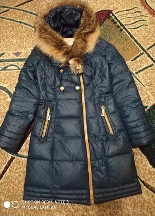 Пуховик, пальто, воротник из натурального меха.