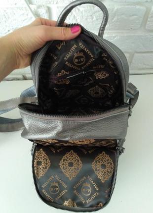 Красивый кожаный рюкзак, 2 отделения, цвет серебро, скидка новый год3