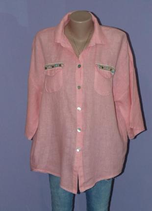 Розовая рубашка 100% лен
