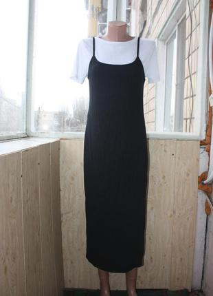 Стильное платье сарафан в рубчик под кроссовки и кеды)