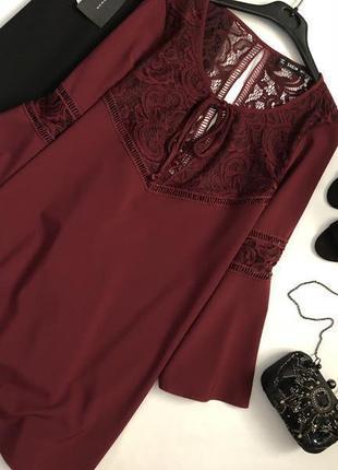 Роскошное платье марсала с кружевом и воланами на рукавах shein