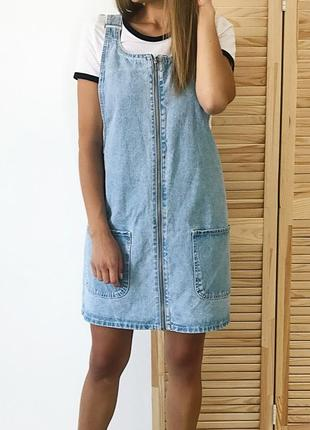 Бомбезный джинсовый сарафан комбинезон платье на молнии denim co