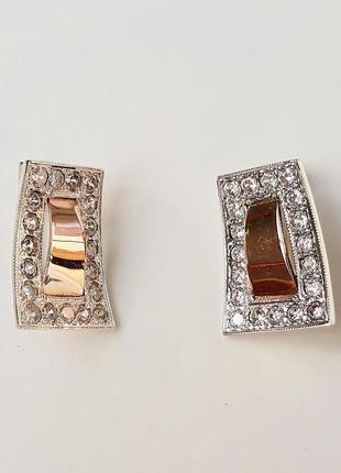 Серебряные серьги  трапеция с золотыми пластинами и фианитами (кубик циркония)