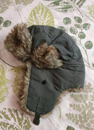 Фирменная теплая зимняя шапка ушанка parallel