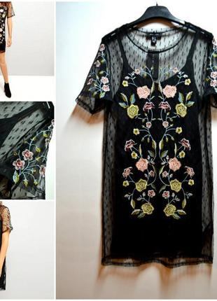Суперское стильное платье накидка сетка горох с вышивкой тренд! 👗 new look