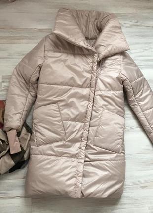 Пальто пудра пуховик одеяло теплое зимнее обьемное в стиле zara