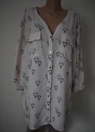 Натуральная блуза-рубашка с принтом большого размера