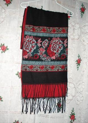 Супер шаль-палантин 60%шерсть,40%акрил черно-красного цвета,англия.
