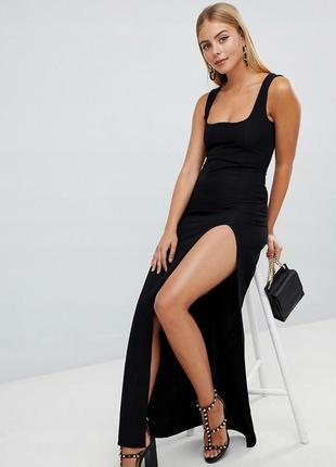 Prettylittlething класична чорна максі-сукня
