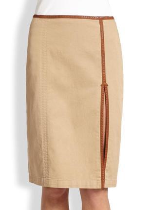 Котоновая юбка-карандаш с кожанной оторочкой ralph lauren размер 44-46