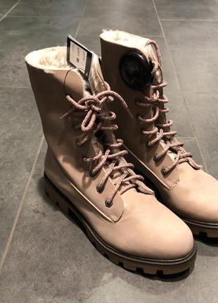 Утеплённые бежевые ботинки под замш amisu зимние ботинки на меху есть размеры