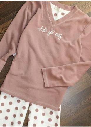 Теплая флисовая пижама ночнушка штаны
