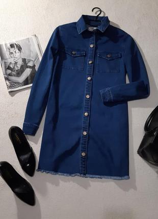 Стильное джинсовое платье рубашка. размер l маломерит