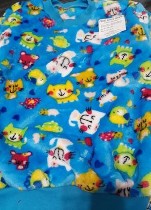 Махровая плюшевая пижама, совы плюшевая махровая пижама котики