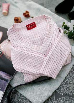 Нежный пудровый свитер в рубчик h&m плотный джемпер