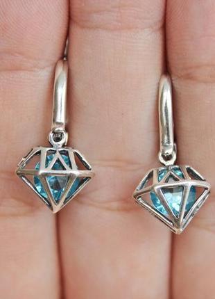 Серебряные серьги бриллиант голубые