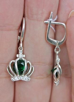 Серебряные серьги виктория зеленые