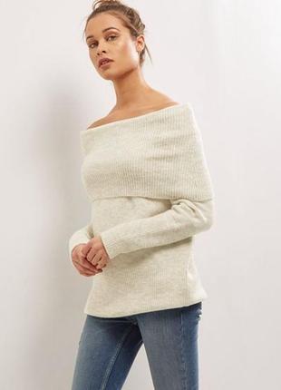 Тёплый вязаный свитер с открытыми плечами, удлиненный new look оверсайз