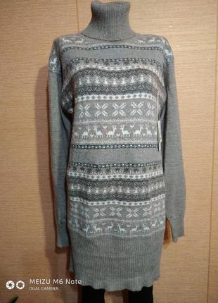 Теплое платье туника с орнаментом размер 48-58